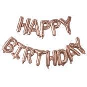 Guirlande Ballon Mylar Happy Birthday Rosé Or