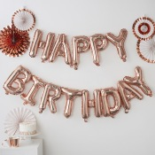 Guirlande Ballon Mylar Happy Birthday Rose Gold