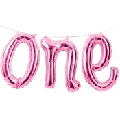 Guirlande Ballons Mylar rose métallisé ONE