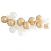 Guirlande de 48 Ballons Pêche, Blanc & Or Chromé