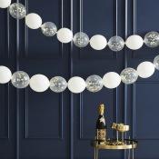 Guirlande de Ballons Blanc & Confettis Or (x24)