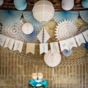 Guirlande Fanion Baby Shower Bleu Ciel (3.5m)