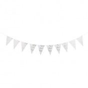 Guirlande Fanions Fougères Baptême Blanc Pailleté Or