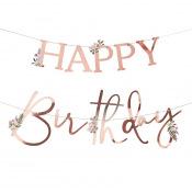 Guirlande Happy Birthday Botanique Rose Gold