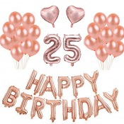 Kit Anniversaire 25 ans Ballons Rose Gold (x21)