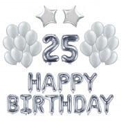 Kit Anniversaire Ballons 25 ans Argent (x21)