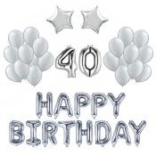 Kit Anniversaire Ballons 40 ans Argent (x21)