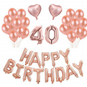 Kit Anniversaire Ballons 40 ans Rose Gold (x21)