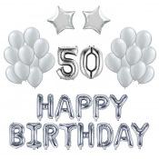 Kit Anniversaire Ballons 50 ans Argent (x21)