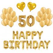 Kit Anniversaire Ballons 50 ans Or (x21)