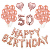Kit Anniversaire Ballons 50 ans Rose Gold (x21)