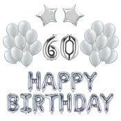 Kit Anniversaire Ballons 60 ans Argent (x21)
