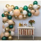 Kit Arche Ballons Vert Chromé, Pêche & Or Chromé