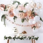 Kit Arche de 60 Ballons Rose Gold & Blanc