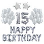 Kit Ballons Anniversaire 15 ans Argent (x21)