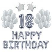 Kit Ballons Anniversaire 18 ans Argent (x21)