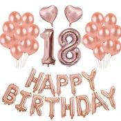 Kit Ballons Anniversaire 18 ans Rose Gold (x21)