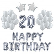 Kit Ballons Anniversaire 20 ans Argent (x21)