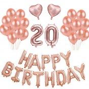 Kit Ballons Anniversaire 20 ans Rose Gold (x21)
