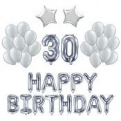 Kit Ballons Anniversaire 30 ans Argent (x21)