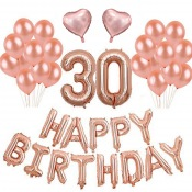 Kit Ballons Anniversaire 30 ans Rose Gold (x21)