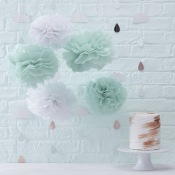 Kit Déco 5 Pompons Fleur Mint & Blanc
