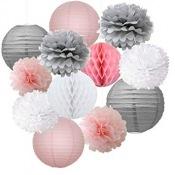 Kit Décoration 10 pièces Rose, Gris et Blanc