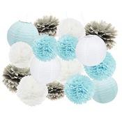 Kit Décoration 12 pièces Bleu, Argent & Blanc