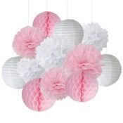 Kit Décoration 12 pièces Rose Pastel & Blanc