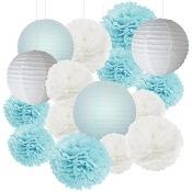 Kit Décoration 16 pièces Bleu Pastel & Blanc