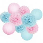 Kit Décoration Gender Reveal 10 Pièces Rose & Bleu