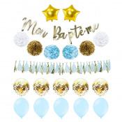 Kit Décoration Mon Baptême Bleu & Or (20 pces)