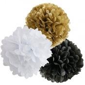 Mix Pompoms Noir, Or & Blanc (3 pces ou 6 pces)