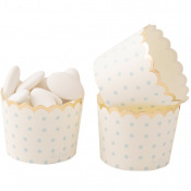 Moules à cupcake Pois Bleu & Or (x20)