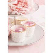 Moules à cupcake Pois Rose & Or (x20)