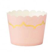 Moules à cupcake Rose Poudré et lisière Doré 85ml (x20)