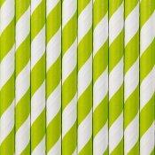 Pailles Biodégradable Papier Rayure Verte (x20)