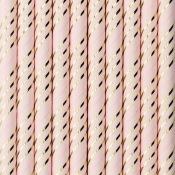 Pailles Biodégradable Papier Rose & Or Pastel (x10)