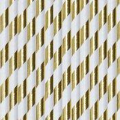 Pailles Biodégradables Papier Rayure Or Métallisé (x10)