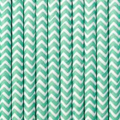Pailles de Fête en papier Chevron Bleu Vert (x20)