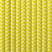 Pailles de Fête en papier Chevron Jaune (x20)