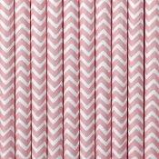 Pailles de Fête en papier Chevron Rose Clair (x20)