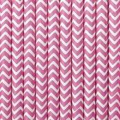 Pailles de Fête en papier Chevron Rose (x20)