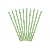 Pailles de Fête en papier Chevron Vert (x20)