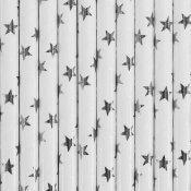 Pailles de Fête en papier Etoiles Argent Métallisé (x24)