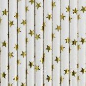 Pailles de Fête en papier Etoiles Or (x24)