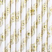 Pailles de fête en papier Etoiles Rouges (x25)
