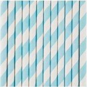 Pailles de Fête en papier à Rayure Bleu Clair (x20)