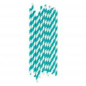 Pailles de Fête en papier Rayure Bleu Turquoise (x25)
