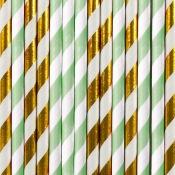 Pailles de fête en papier Rayure Mint & Or (x20)